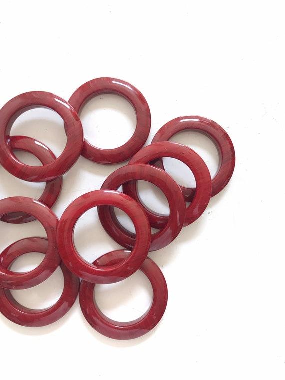 vintage set 10 handle modernist maroon plastic napkin ring holders