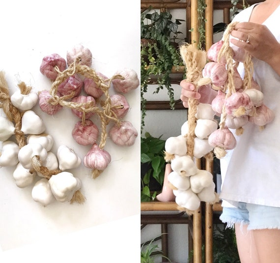 vintage white ceramic garlic strand | farmhouse kitchen decor