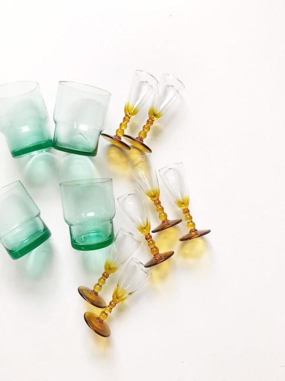set of 7 orange amber glass stemmed shot glasses / gift barware