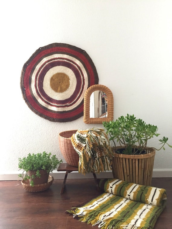 vintage boho round afghan throw blanket / bedding / table cloth / rug / wall art / tie dye