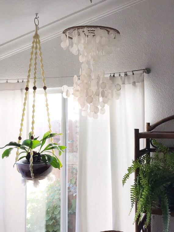 vintage long beaded white macrame plant holder