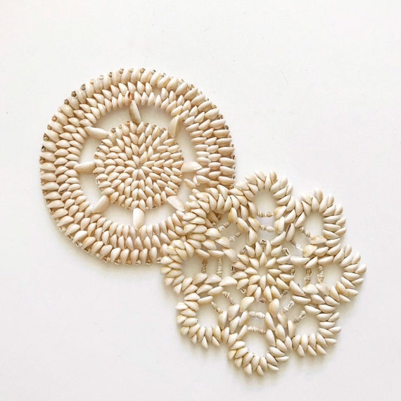 set of 2 seashell shell plate coasters / flower wall baskets