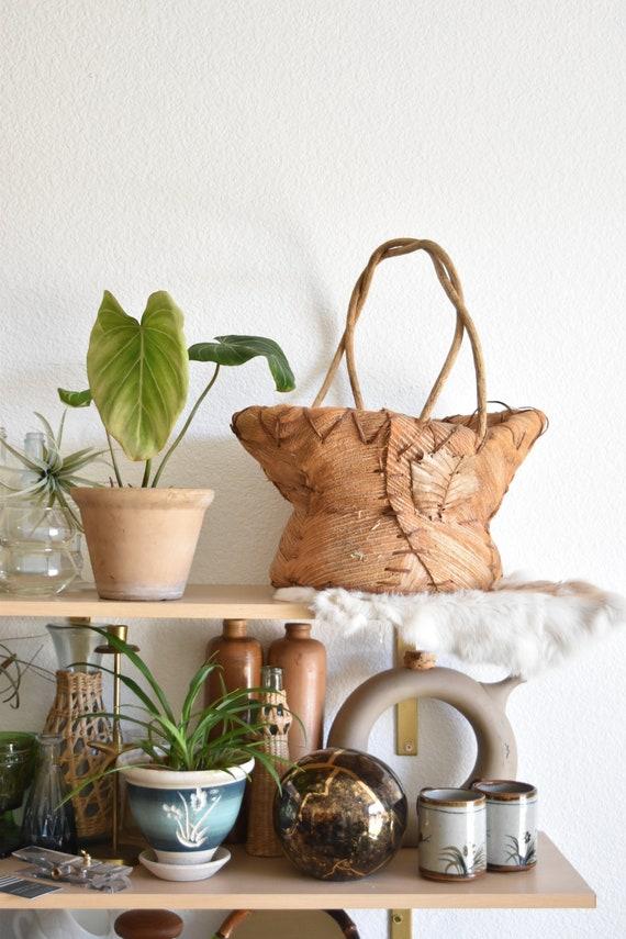 large primitive woven banana leaf husk basket planter / boho housewarming gift