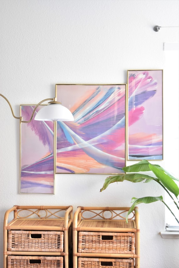 1980s framed large pink triptych poster | modern abstract art print