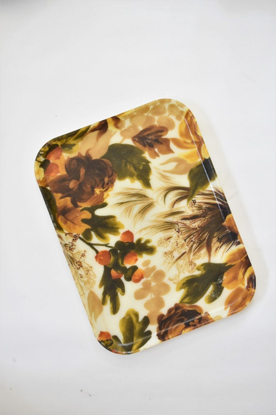 mid century earth tone colored floral serving tray / shabby chic farmhouse decor