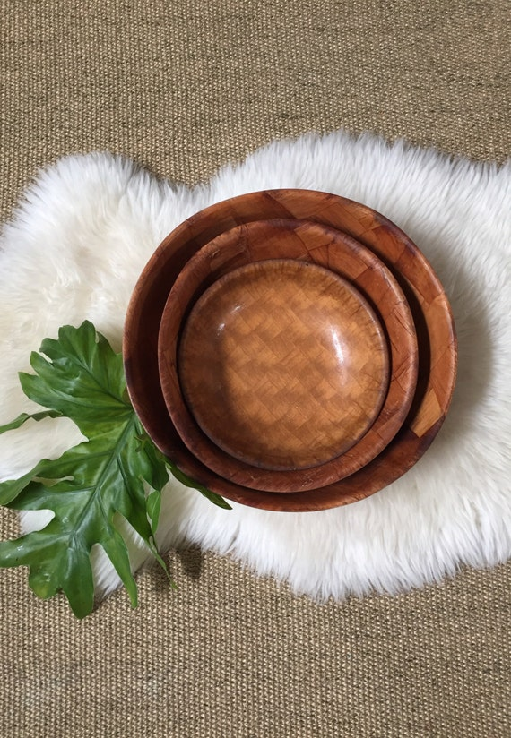 large set of parquet weave wood salad bowls / trio
