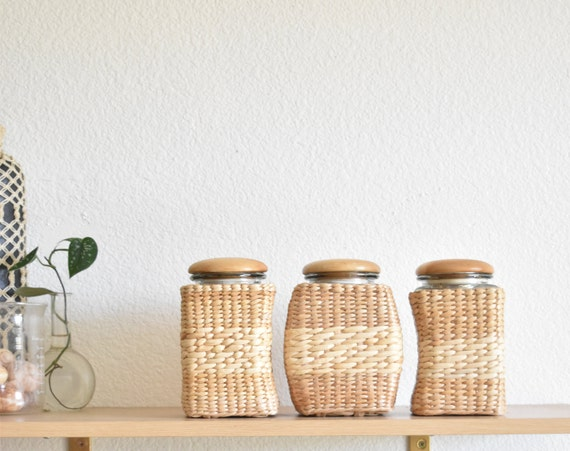 woven straw glass anchor hocking canister set | kitchen jar storage
