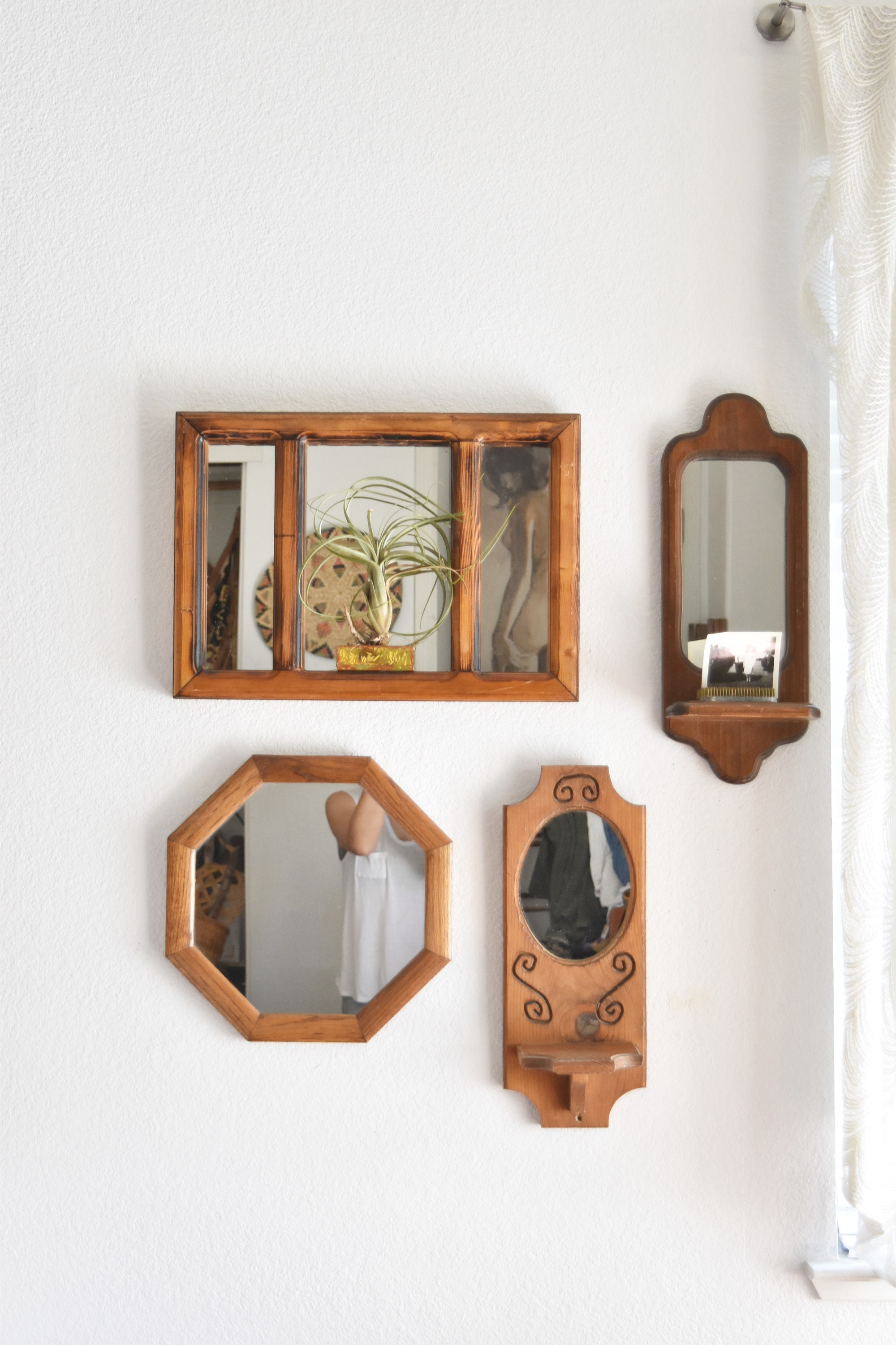 Mid Century Carved Wooden Bohemian Wall Hanging Mirror