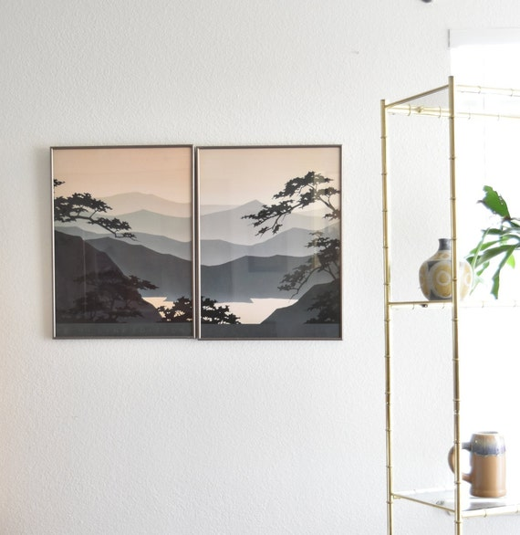 large framed blue mountain lake print | painting