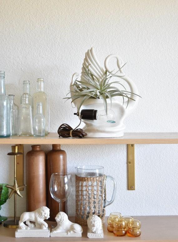 mid century white ceramic swan planter table lamp / flower vase