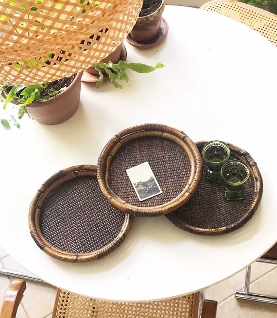 circle wood bamboo rattan tiki serving tray | tropical beach house decor