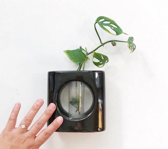 vintage ceramic black bud vase starter flower planter | propagation station