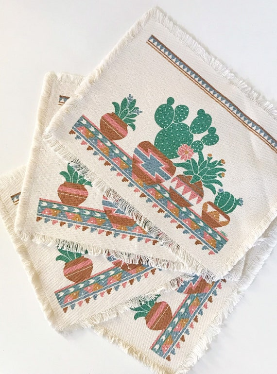 set of 4 boho cactus plant linen dinner table placemats   gift for plant lover