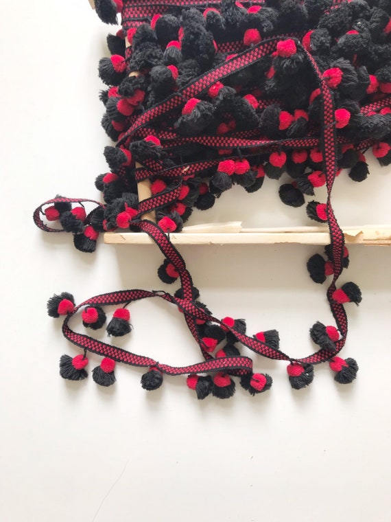vintage red black pom pom tassel strand / by the yard