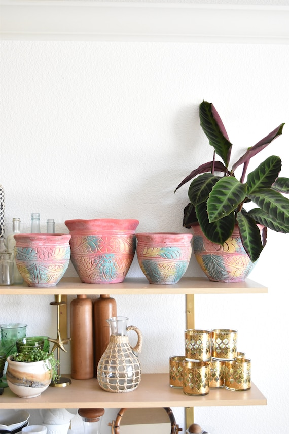 heavy pink stoneware ceramic bisque planters / drainage hole / 1 pot