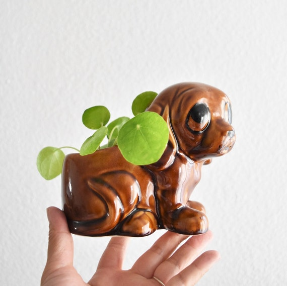 ceramic brown puppy dog flower pot planter / gift for dog lover