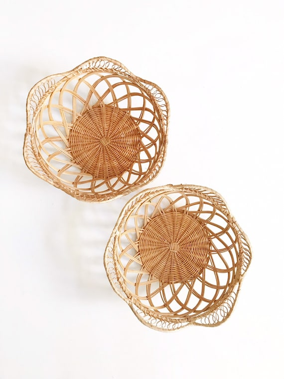 set of 2 woven wicker flower shaped baskets | matching pair farmhouse storage baskets