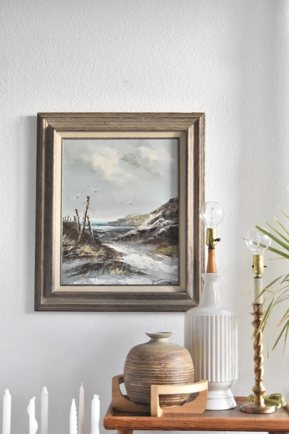 framed mid century original beach seagull oil painting / ocean waves landscape water scenery