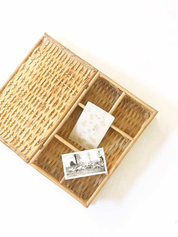 mid century wicker rattan office organizer box with lid / bamboo paper storage file
