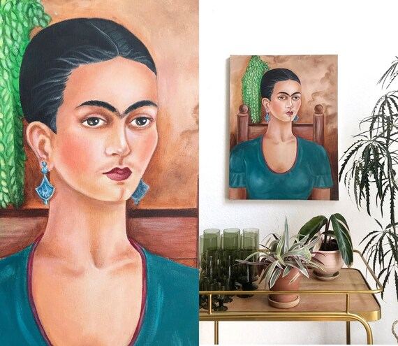 Frida portrait painting | Mexican woman icon modern art