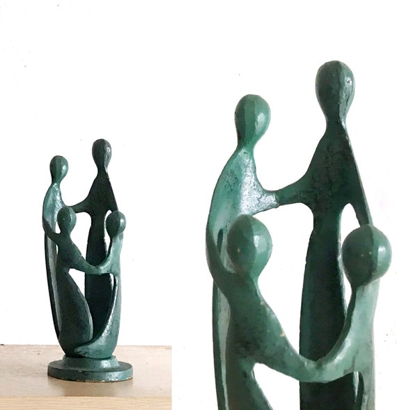 turquoise blue minimalist abstract people sculpture figurine votive candleholder | love modern art statue | housewarming gift