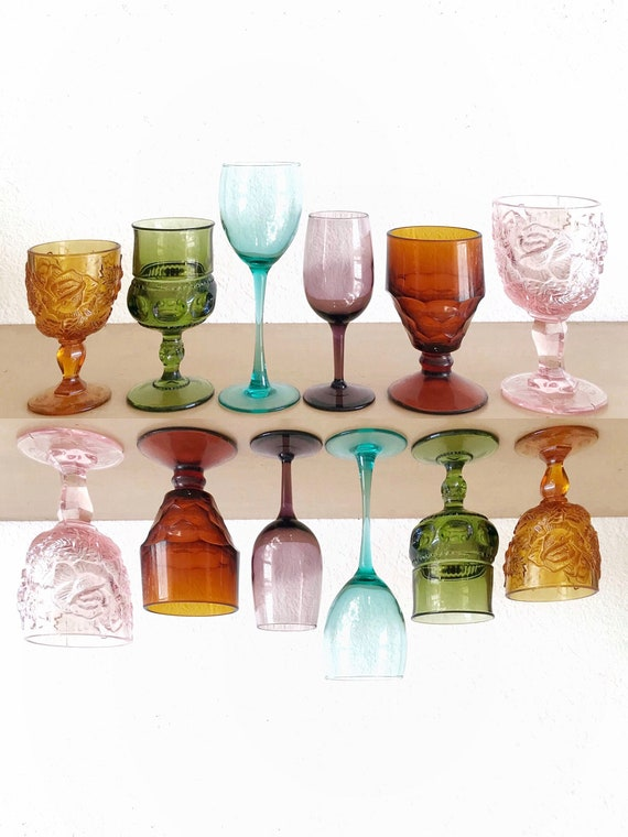 mismatched collection of 6 ornate amber green glass champagne wine glass goblets / depression glass set