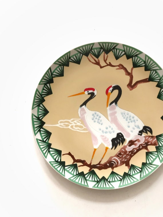 chinoiserie hand painted plate with crane egret birds/ asian wall hanging dish plate