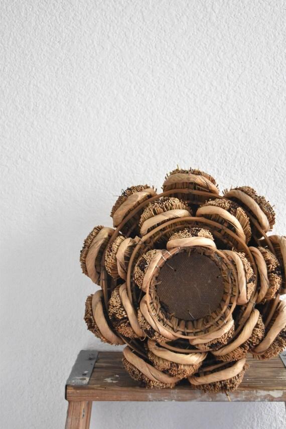set of 3 nesting woven straw basket planter