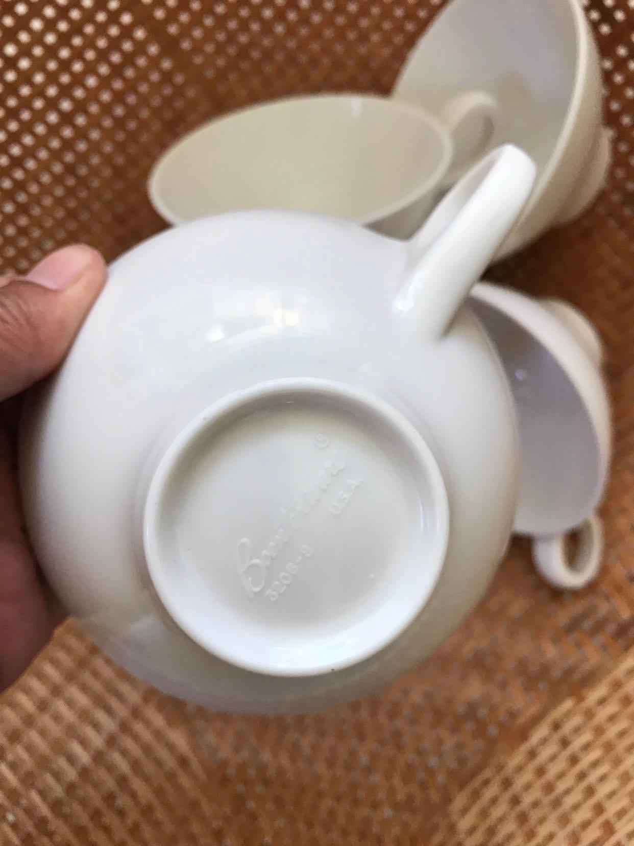 mid century modern white melmac teacups   melamine coffee mug set
