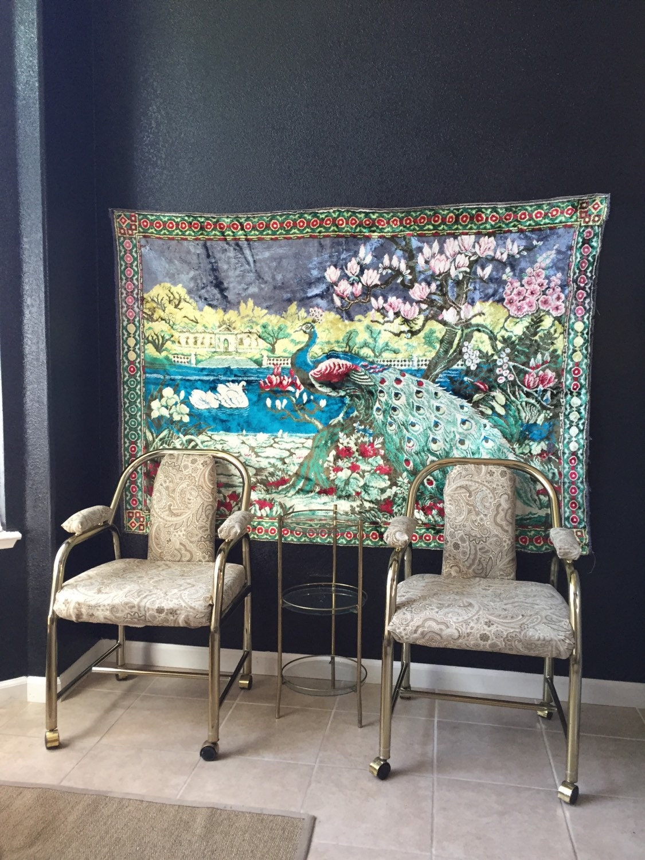66 Large Vintage Turkish Velvet Peacock Wall Hanging
