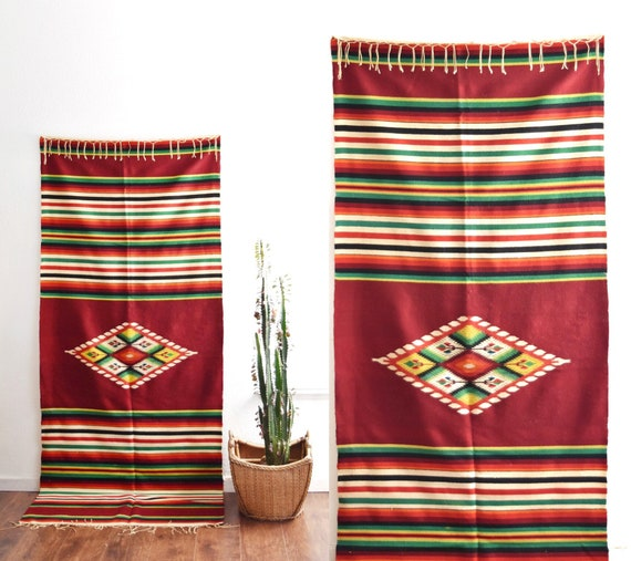 authentic vintage multicolored red striped woven wool mexican serape throw rug / wall tapestry / blanket / saltillo
