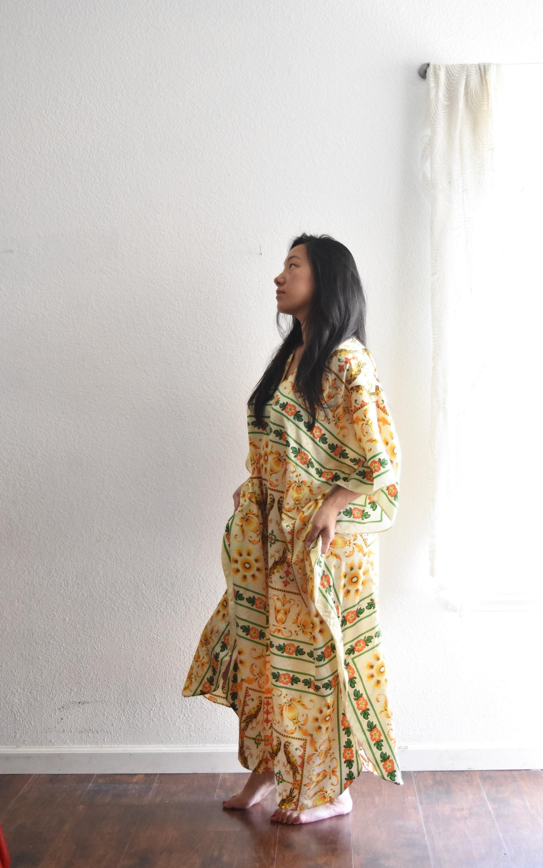 vintage yellow silk granny poncho night gown dress / long bohemian ...