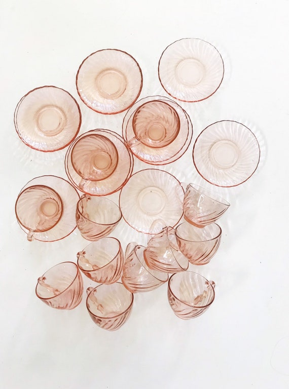 set of 12 vintage french pink swirl teacup drinking glasses with saucers / rosaline / france