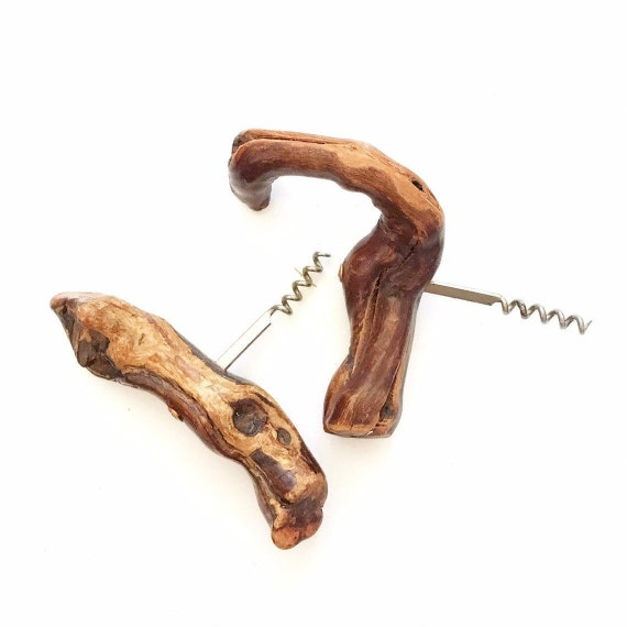 french wooden grapevine root wine corkscrew bottle opener / wine / driftwood / natural