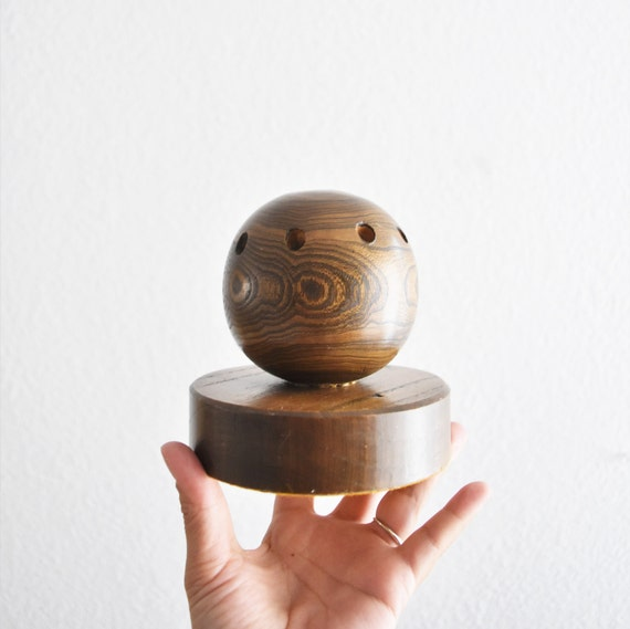 vintage wooden sphere orb container / desk top organizing holder / office pencil storage