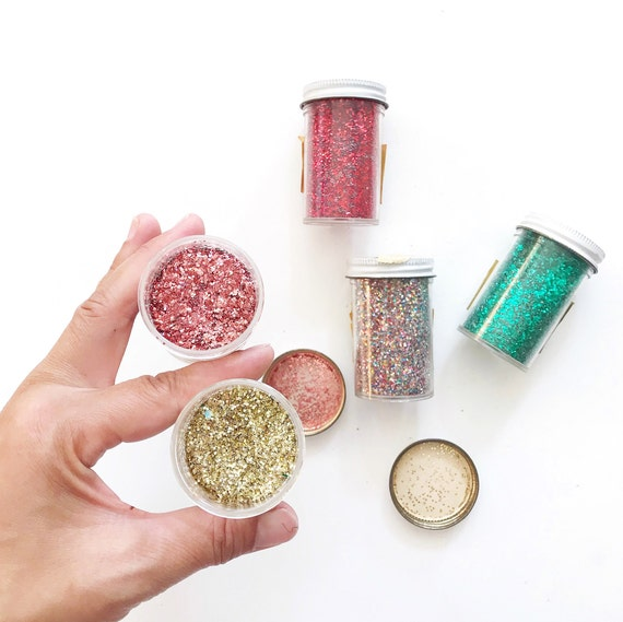 vintage bottles of craft glitter | multicolored shiny glitter set