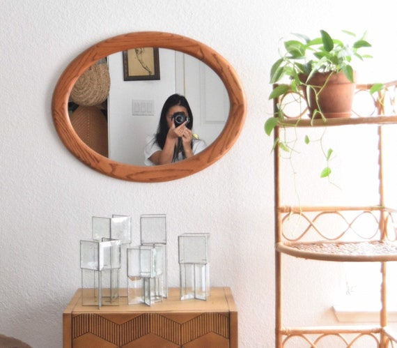 vintage solid wood modern farmhouse oval shaped wall hanging mirror