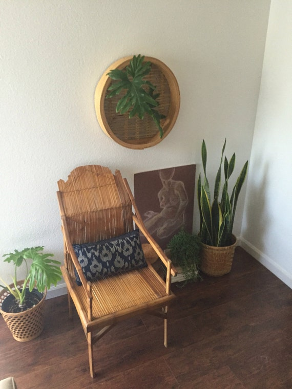 unique mid century handmade bamboo wood chair / accent chair / Pickup only or local delivery