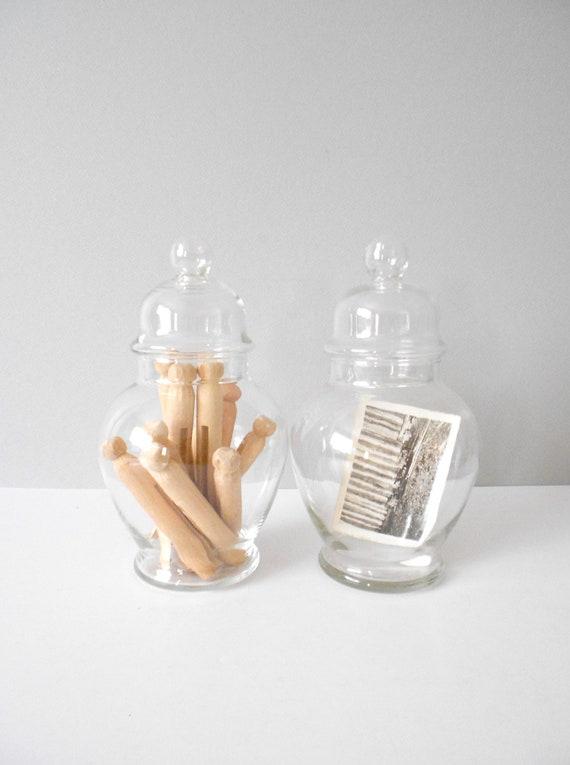vintage glass apothecary jar / ginger jar / storage container / 1 single jar