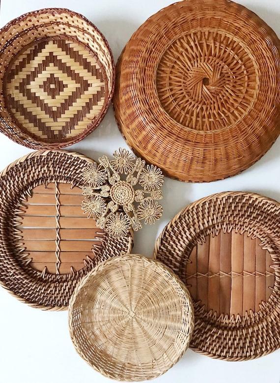 set of 6 patterned woven wicker rattan trivet wall hanging baskets | modern farmhous xmas gift