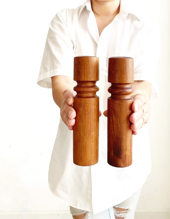 mid century modern turned chunky teal wood salt and pepper shakers