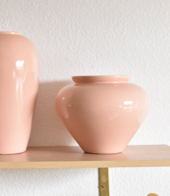 authentic royal haeger peach pink ceramic pottery flower vase