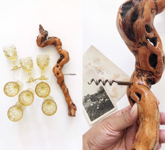 extra large french wooden grapevine root wine corkscrew bottle opener / wine / driftwood / natural