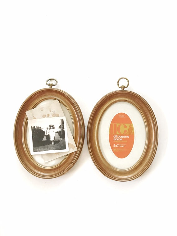 vintage wall hanging set of gold brown faux wood oval picture frames