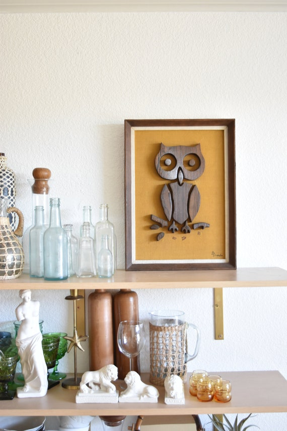 mid century modern framed owl sculpture art work / bird picture