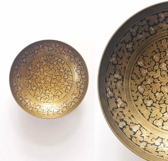 solid brass floral etched wall hanging decorative bowl | india