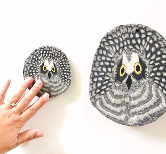 vintage barn owl candle wall hanging art | owl figurine gift