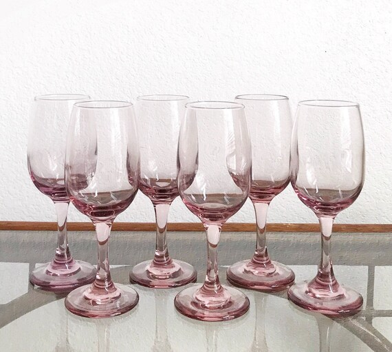 vintage set of 6 libbey plum pink stemware champagne wine glasses / gift barware