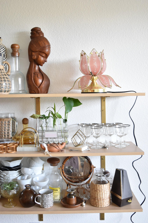 Boho mid century pink glass gold metal lotus flower table lamp izmirmasajfo
