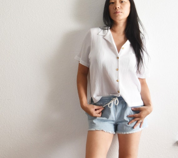 women's vintage short loose white button up secretary shirt blouse